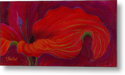 Metal Print featuring the painting Lady In Red by Sandi Whetzel