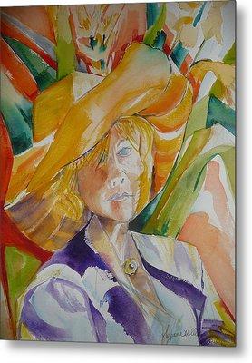 Lady In The Big Yellow Hat Metal Print