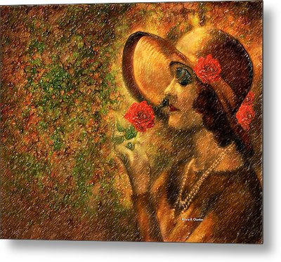 Lady In The Flower Garden Metal Print by Angela A Stanton