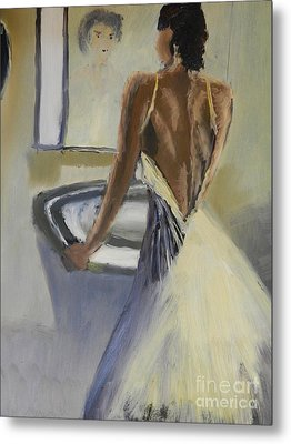 Metal Print featuring the painting Lady In The Mirror by Pamela  Meredith