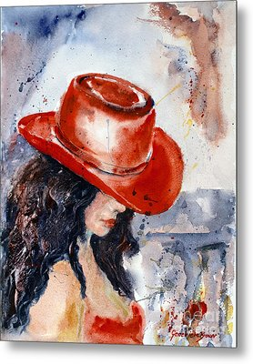 The Red Hat Metal Print by Genevieve Brown
