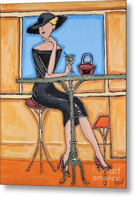 Lady In Waiting With Martini Metal Print by Cynthia Snyder