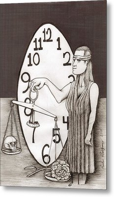 Metal Print featuring the painting Lady Justice And The Handless Clock by Richie Montgomery