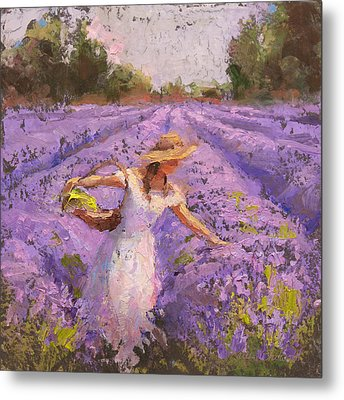 Woman Picking Lavender In A Field In A White Dress - Lady Lavender - Plein Air Painting Metal Print by Karen Whitworth