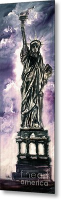 Lady Liberty Charcoal And Oil Metal Print by Ginette Callaway