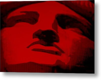 Lady Liberty In Red Metal Print by Rob Hans