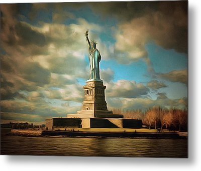 Lady Liberty The Statue- Nyc Metal Print by Georgiana Romanovna