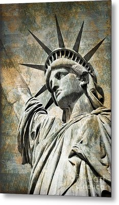 Lady Liberty Vintage Metal Print by Delphimages Photo Creations