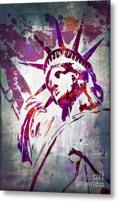 Lady Liberty Watercolor Metal Print by Delphimages Photo Creations