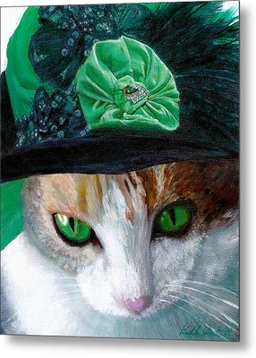 Lady Little Girl Cats In Hats Metal Print