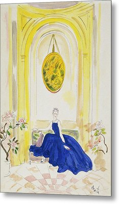 Lady Mendl Wearing A Blue Dress Metal Print by Cecil Beaton
