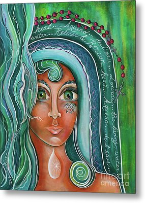 Metal Print featuring the painting Lady Of Lourdes Madonna by Deborha Kerr