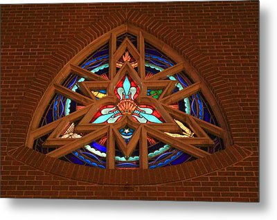 Lady Of The Lake Stained Glass Window Metal Print