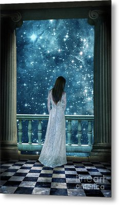 Lady On Balcony At Night Metal Print