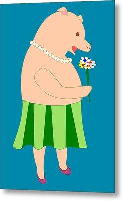 Lady Pig Smelling Flower Metal Print