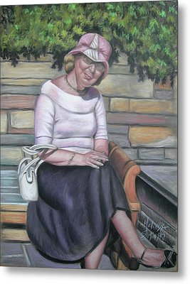 Lady Sitting On A Bench With Pink Hat Metal Print by Melinda Saminski