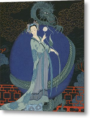 Lady With A Dragon Metal Print by Georges Barbier
