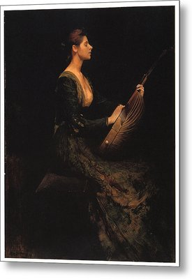 Lady With A Lute Metal Print by Thomas Wilmer Dewing