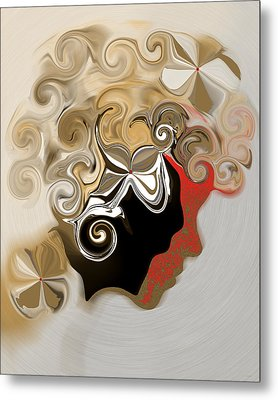Metal Print featuring the digital art Lady With Curls by Gillian Owen