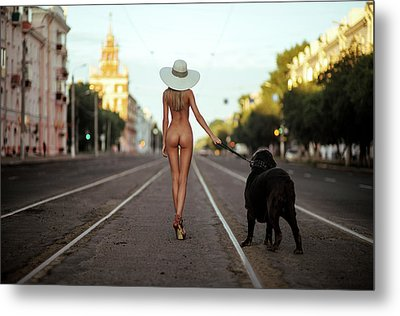 Lady With Her Dog Metal Print by Gene Oryx
