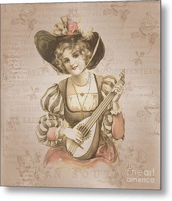Lady With Music Roses Background Metal Print