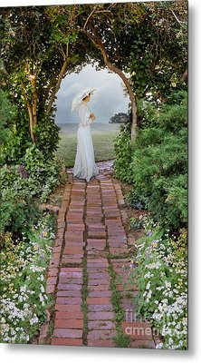 Lady With Parasol On Brick Path By The Sea Metal Print by Jill Battaglia