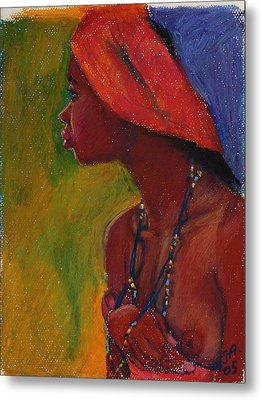 Lady With Red Headdress Metal Print