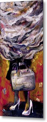 Metal Print featuring the painting Lady With Suitcase And Storm Cloud by Tilly Strauss