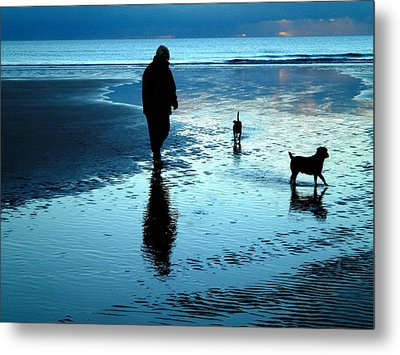 Lady With The Little Dogs Metal Print