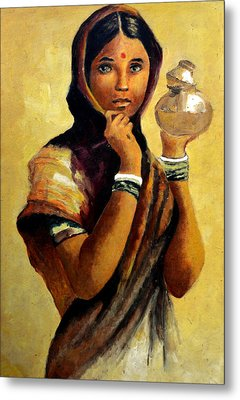 Lady With The Pot Metal Print by Farah Faizal