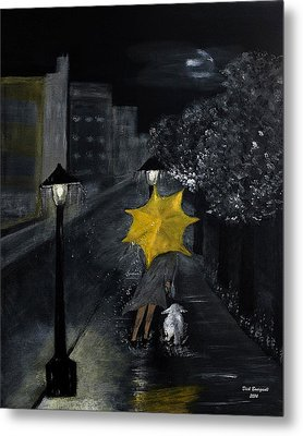 Lady With Yellow Umbrella And White Dog Metal Print