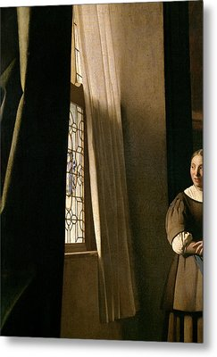 Detail From A Lady Writing A Letter With Her Maid Metal Print by Jan Vermeer