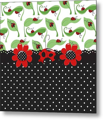 Ladybug Flower Power Metal Print by Debra  Miller