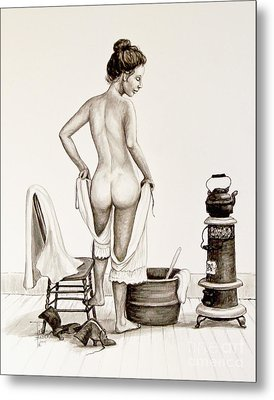Lady's Bath 1890's Metal Print