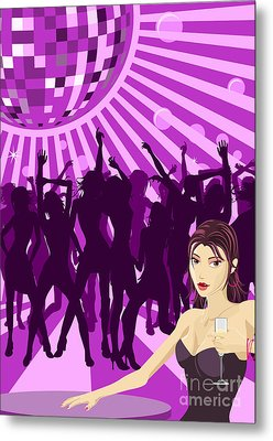 Ladys Night Illustration Metal Print