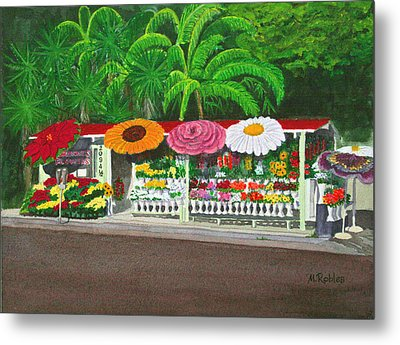 Laguna Beach Flower Stand Metal Print by Mike Robles