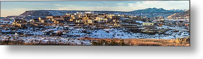 Winter Afternoon Laguna Pueblo - Native American Pueblo Photograph Metal Print