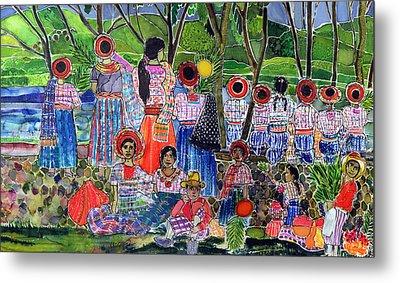 Lake Atitlan, 2005 Dyes On Silk Metal Print by Hilary Simon