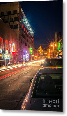 Metal Print featuring the photograph Lake Avenue Saturday Night by Mark David Zahn
