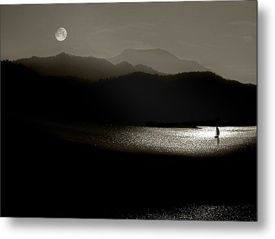 Lake Chatuge Moon Sail Metal Print by William Schmid