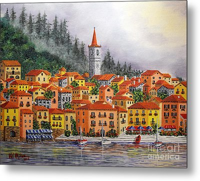 Metal Print featuring the painting Lake Como Italy by Val Miller