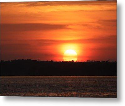 Lake Conroe Sunset Metal Print by Ellen O'Reilly