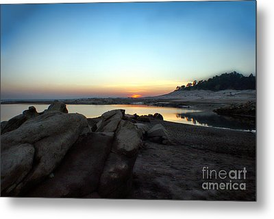 Lake Folsom California Rocky Sunset Metal Print by Polly Peacock