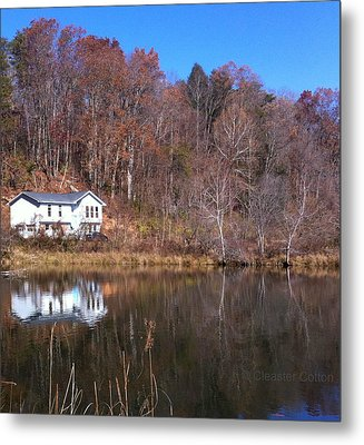 Lake House Blue Sky Metal Print by Cleaster Cotton