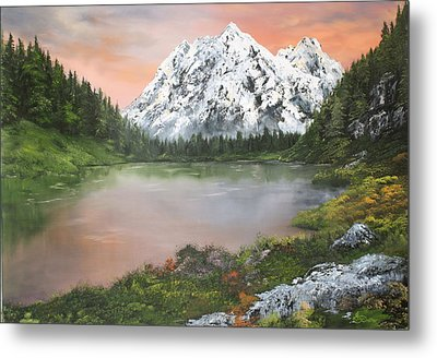 Metal Print featuring the painting Lake In Austria by Jean Walker