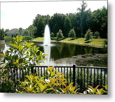 Lake In Bloom Metal Print