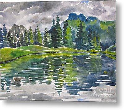 Lake In The Mountains Metal Print by Anna Lobovikov-Katz