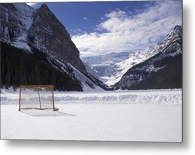 Lake Louise Hockey Net Metal Print by Bill Cubitt