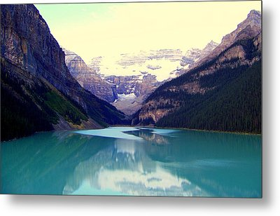 Lake Louise Stillness Metal Print by Karen Wiles