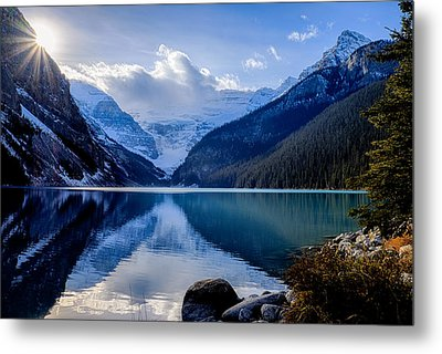 Lake Louise With Sunstar Metal Print